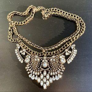 Charming Charlie Gunmetal Rhinestone Necklace